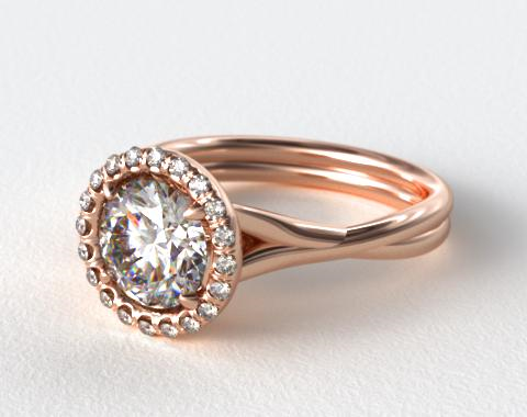 14K Rose Gold Pave Halo Twisted Shank Solitaire