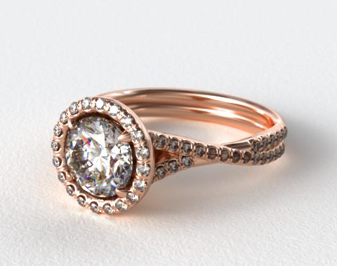 14K Rose Gold Pave Halo and Twisted Shank Solitaire