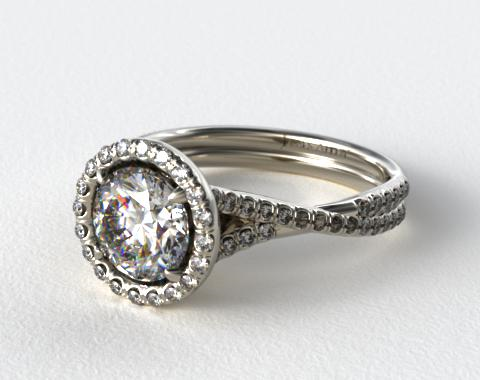 14K White Gold Pave Halo and Twisted Shank Engagement Ring