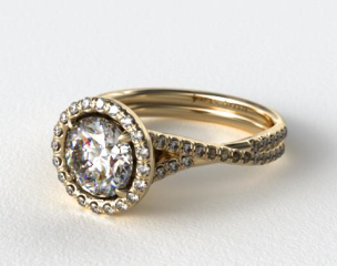 18k Yellow Gold Pave Halo and Twisted Shank Solitaire