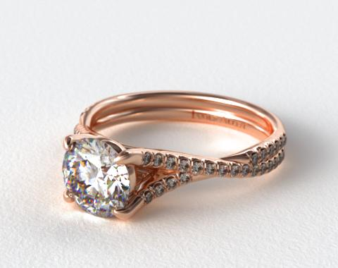 14K Rose Gold Twisted Pave Shank Engagement Ring