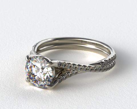 Platinum Twisted Pave Shank Engagement Ring