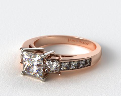 14K Rose Gold Princess Shaped Three Stone Channel Set Diamond Engagement Ring
