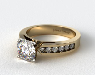 14k Yellow Gold Cathedral Channel Set Diamond Engagement Ring