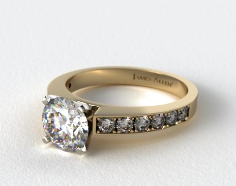 18K Yellow Gold Round Raised Pave Diamond Engagement Ring