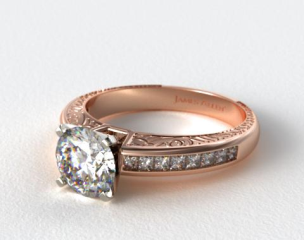 14K Rose Gold Engraved Princess Shaped Channel Set Diamond Engagement Ring