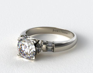14k White Gold Marquise and Baguette Diamond Engagement Ring