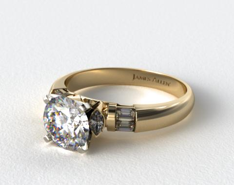 18k Yellow Gold Marquise and Baguette Diamond Engagement Ring