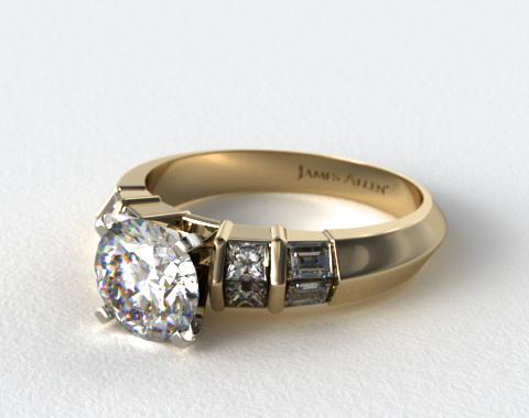 14k Yellow Gold Knife-Edge Princess and Baguette Diamond Engagement Ring