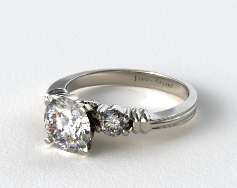 18K White Gold Open Groove Round Diamond Engagement Ring