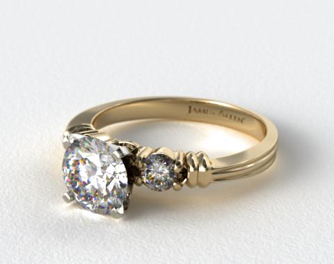 18K Yellow Gold Open Groove Round Diamond Engagement Ring