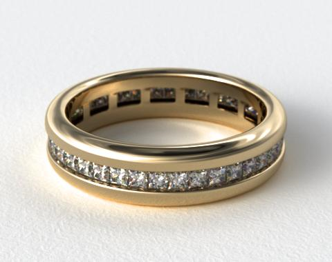 18K Yellow Gold 0.85ct Channel Set Princess Shaped Diamond Eternity Band