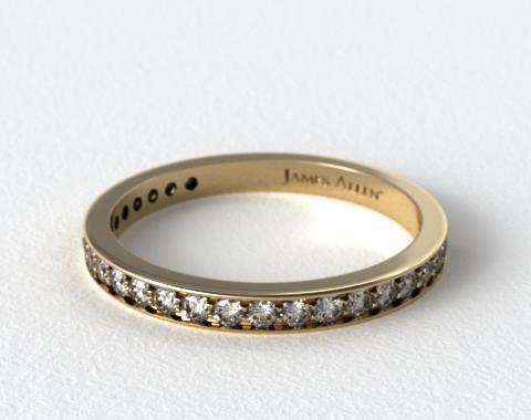 18K Yellow Gold 0.17ct Pave Diamond Wedding Ring