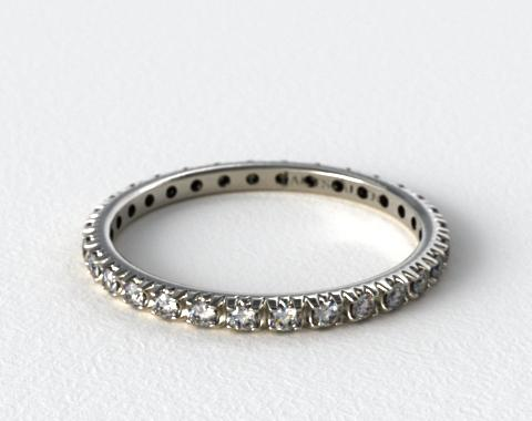 Platinum Thin French-Cut Pave Set Diamond Eternity Wedding Ring