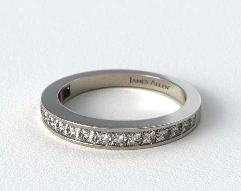 14K White Gold 0.57ct Channel Set Princess Diamond Wedding Ring