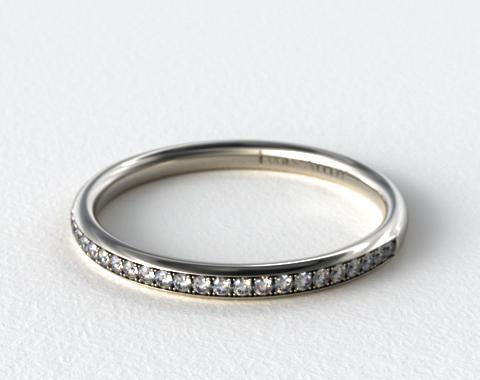 Platinum 2mm, 24 Stone, 0.16ctw Matching Pave Wedding Band