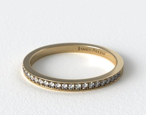 18K Yellow Gold 2mm, 26 Stone, 0.18ctw Matching Pave Wedding Band