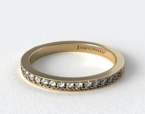 18K Yellow Gold 1.8mm Pave Set Wedding Ring