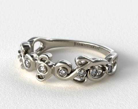 14K White Gold Blossoming Vine Diamond Wedding Ring
