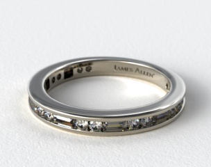 14K White Gold Alternating Baguette and Round Diamond Wedding Ring