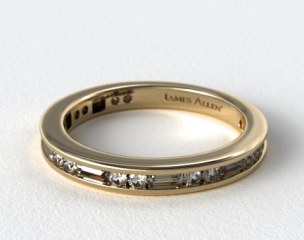 14K Yellow Gold Alternating Baguette and Round Diamond Wedding Ring