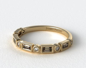 18K Yellow Gold Round and Baguette Vintage Milgrain Diamond Wedding Ring