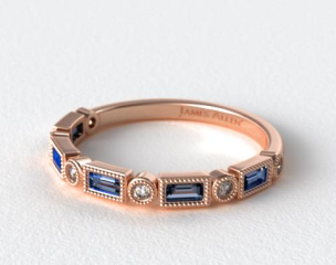 14K Rose Gold Round and Sapphire Baguette Vintage Milgrain Diamond Wedding Ring