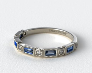 14K White Gold Round and Sapphire Baguette Vintage Milgrain Diamond Wedding Ring