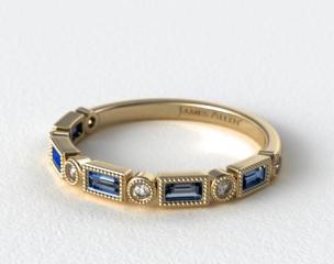 18K Yellow Gold Round and Sapphire Baguette Vintage Milgrain Diamond Wedding Ring