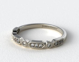 Platinum Vintage Round Diamond and Arrow Shape  Wedding Ring