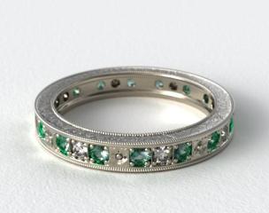 Platinum Hand Engraved Floral Wedding Ring