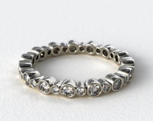 14K White Gold Alternating Bezel Eternity Wedding Ring