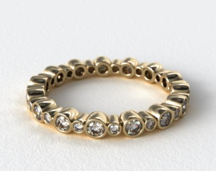 18K Yellow Gold Alternating Bezel Eternity Wedding Ring