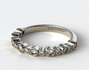 14K White Gold Alternating Bezel  Wedding Ring