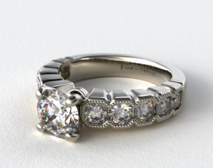14K White Gold Geometric Bold Geometric Bezel Engagement Ring