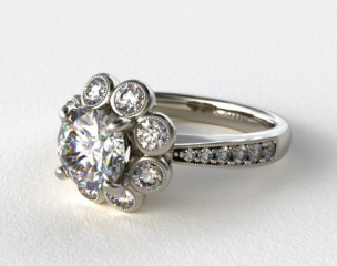 Platinum Vintage Flower Halo Engagement Ring