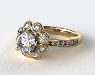 18K Yellow Gold Vintage Flower Halo Engagement Ring
