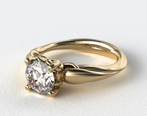 14K Yellow Gold Stone Heart Diamond Engagement  Ring