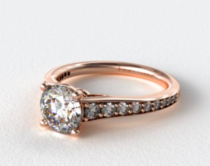 14K Rose Gold Tailored Diamond Engagement Ring