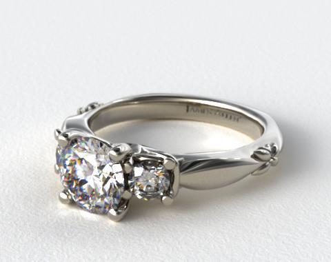 18K White Gold Floret Diamond Engagement  Ring