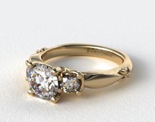 14K Yellow Gold Floret Diamond Engagement  Ring