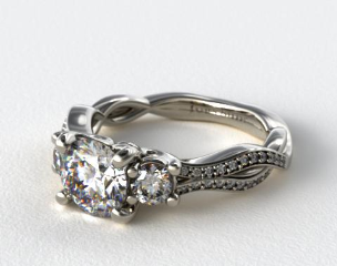 Platinum Open Wire Diamond Engagement Ring