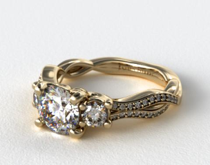 14K Yellow Gold Open Wire Diamond Engagement Ring