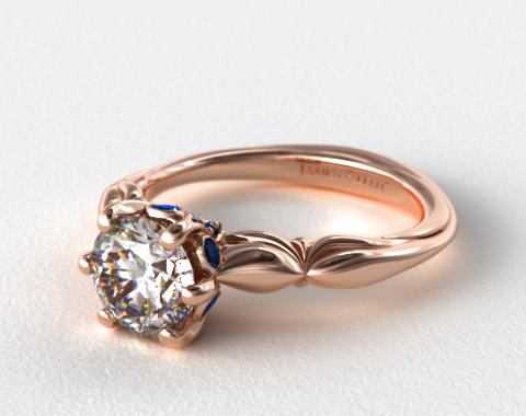 14K Rose Gold Sapphire Bezel Diamond Engagement Ring