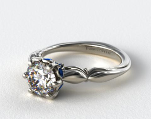 18K White Gold Sapphire Bezel Diamond Engagement Ring