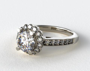 18K White Gold Scallop Diamond Halo Engagement Ring