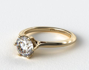 14K Yellow Gold Intricate Basket Knife Edge Engagement Ring
