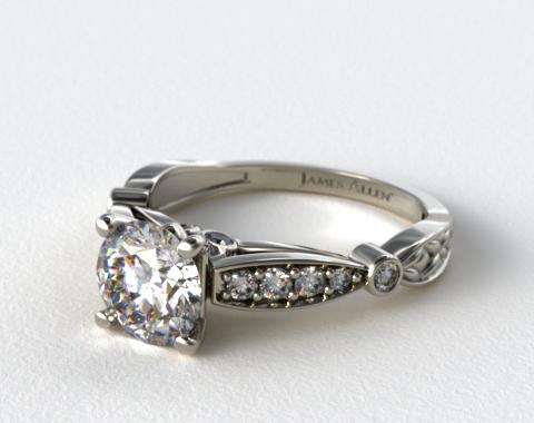 14K White Gold Embossed Diamond Engagement Ring