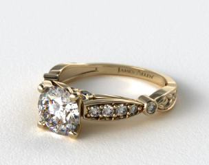 14K Yellow Gold Embossed Diamond Engagement Ring