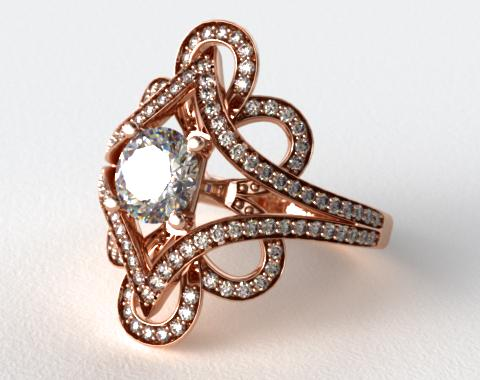 14K Rose Gold Soft Floral Diamond Engagement Ring